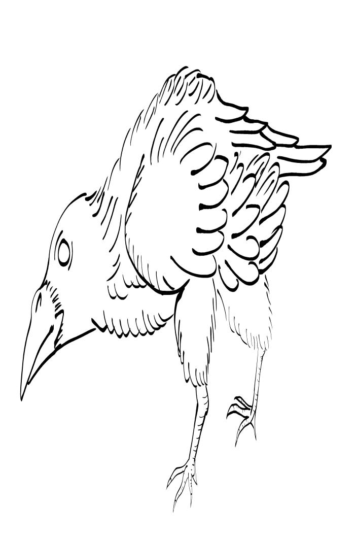 Crow Raven -ukiyo-e BlackandWhite8-(からす) by RedSparkle (11-2019)
