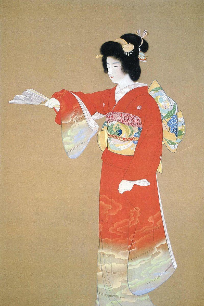 Noh Dance Prelude (jo no mai), by Uemura Shōen, c.1936, bijin-ga