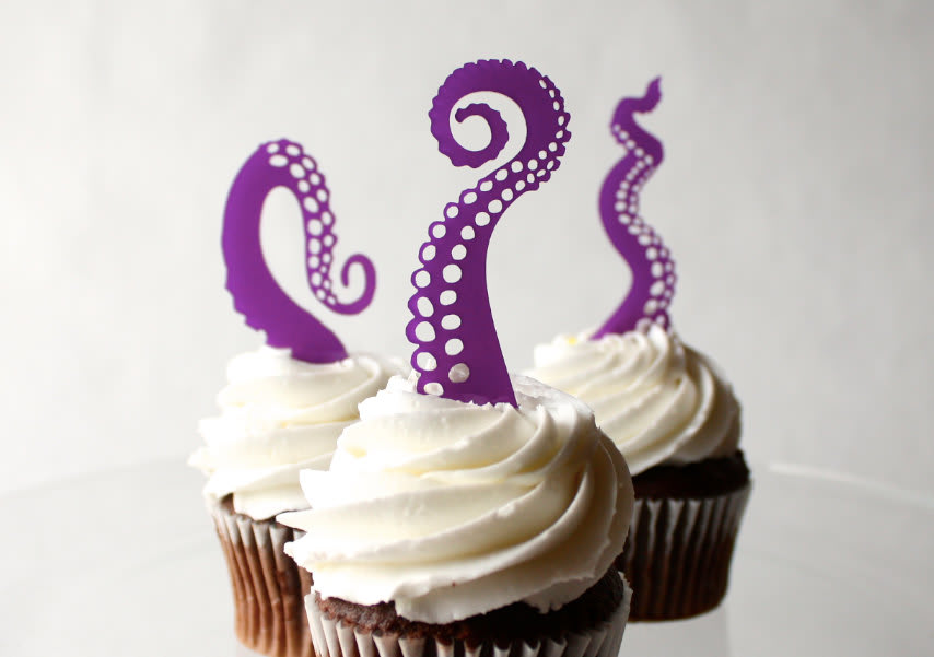 Tentacle Cupcake Toppers / ThroughThickandThin