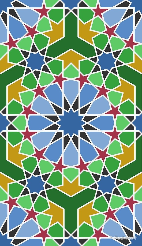 Geometric Pattern: Arabic Tiles: Seasons / Red Wolf