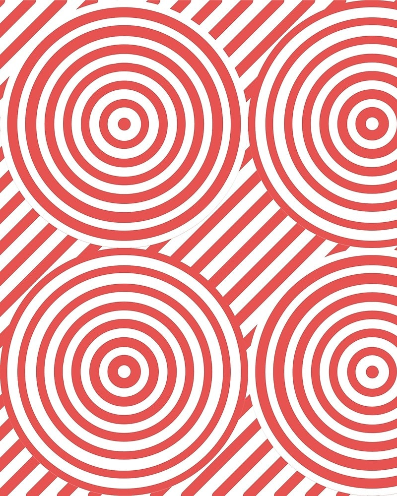 Geometric Pattern: Circle Strobe: Colour/White / Red Wolf