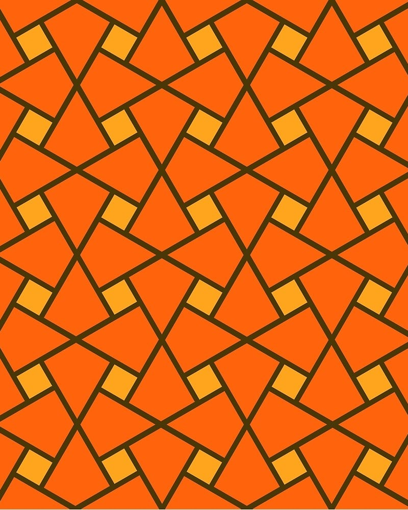 Geometric Pattern: Square Twist / Red Wolf