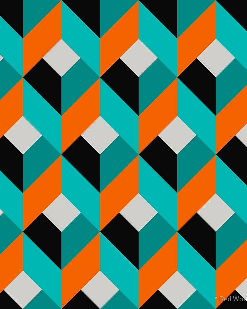 Geometric Pattern: Box / Red Wolf