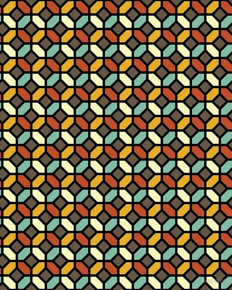Geometric Pattern: Octagon / Red Wolf
