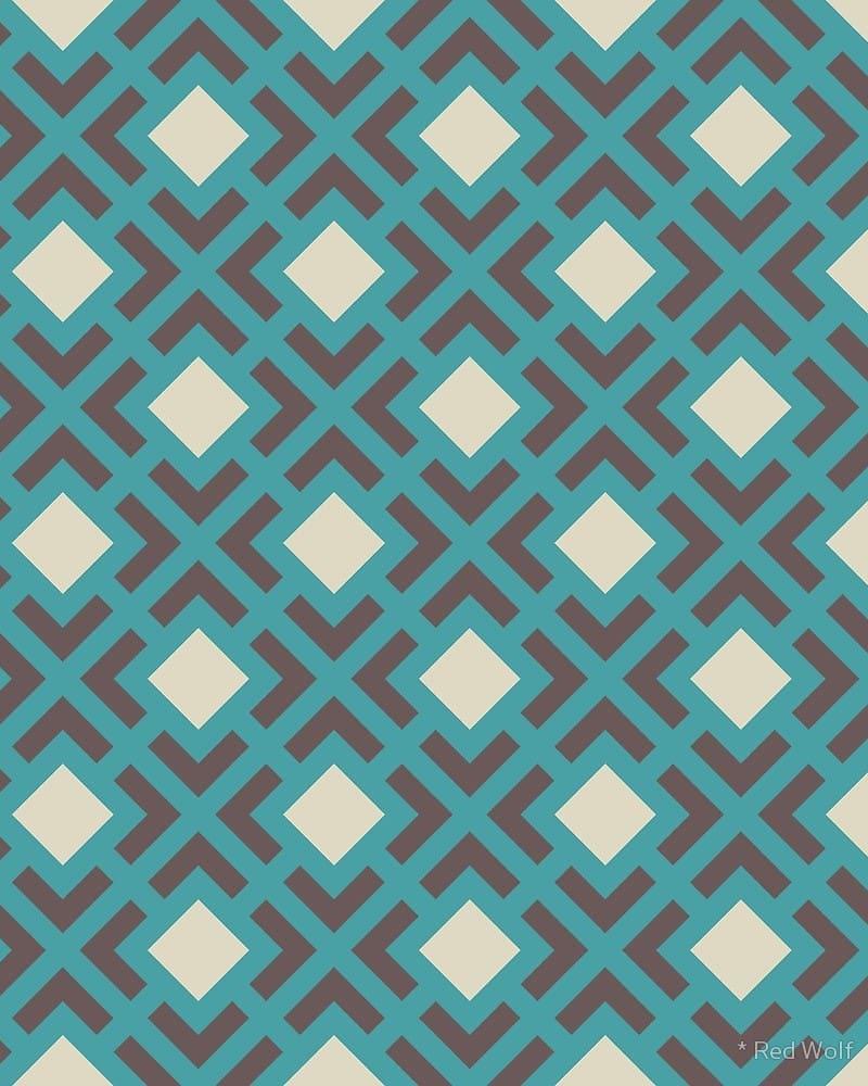 Geometric Pattern: Diamond Bracket / Red Wolf