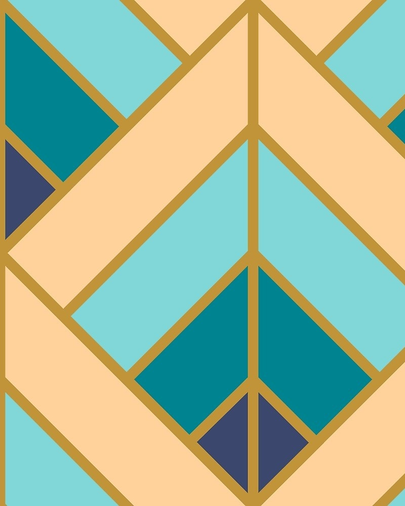 Geometric Pattern: Art Deco Diamond / Red Wolf