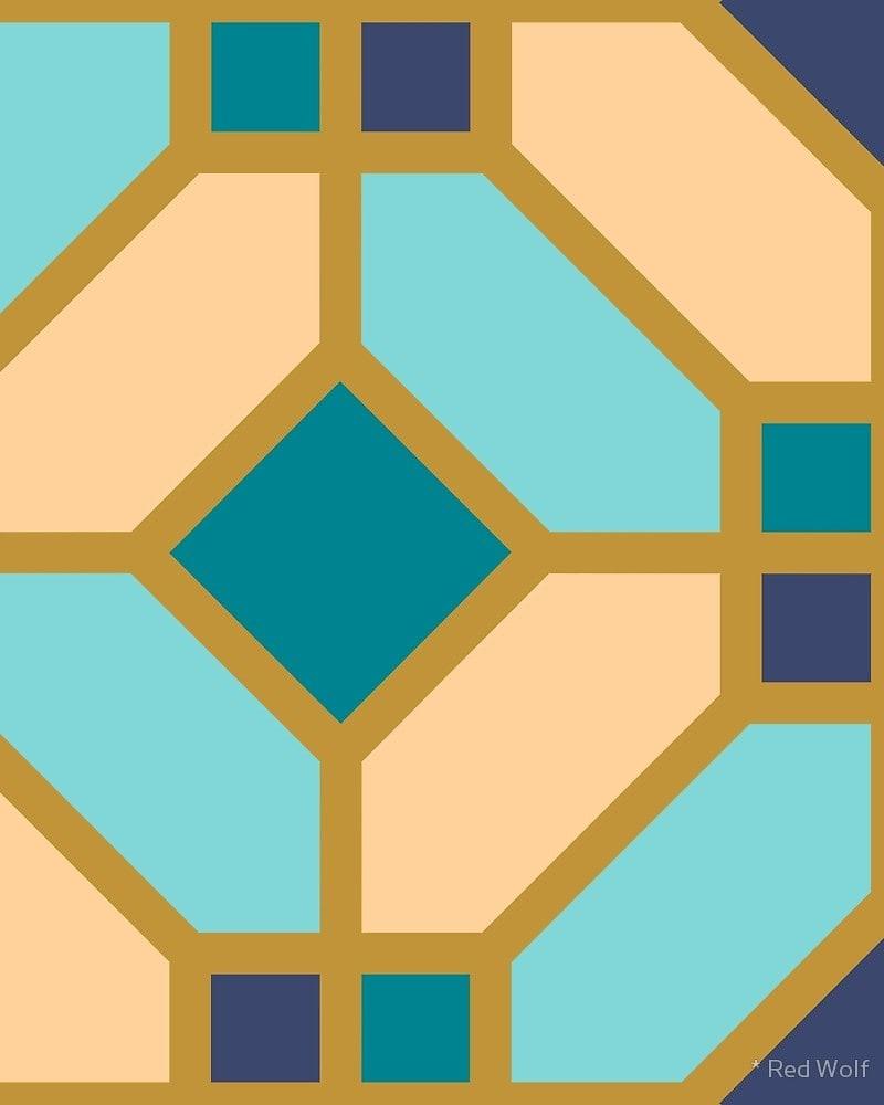 Geometric Pattern: Art Deco Tile / Red Wolf