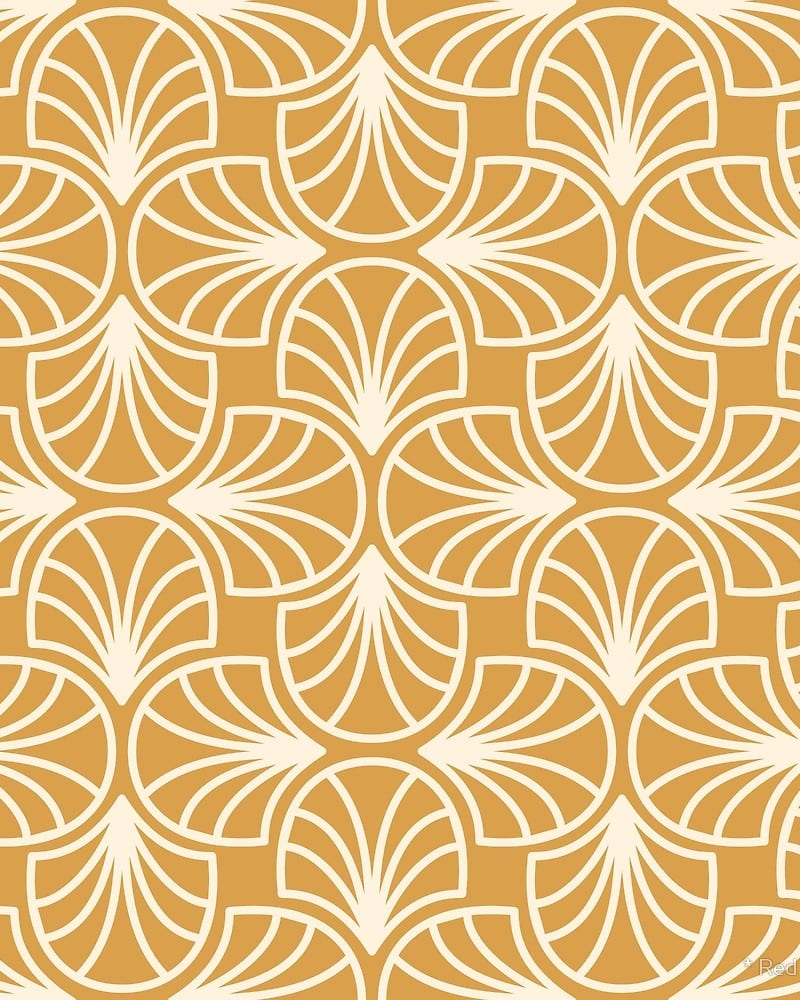 Geometric Pattern: Art Deco: Curve Outline / Red Wolf