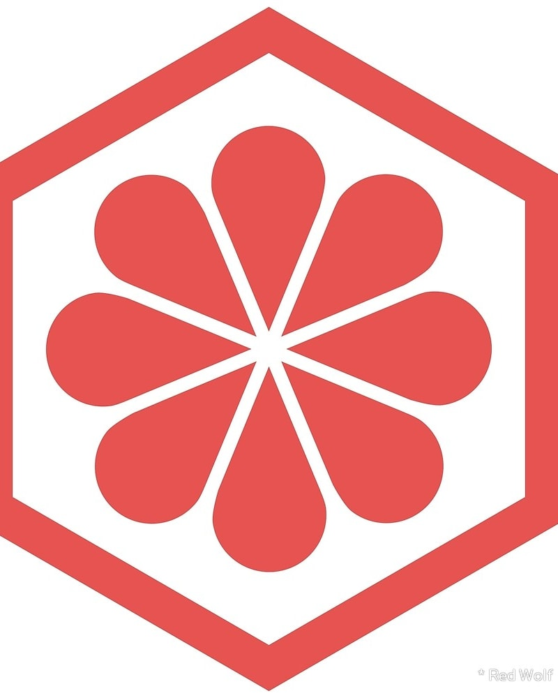 Geometric Pattern: Hexagon Flower: Colour/White / Red Wolf