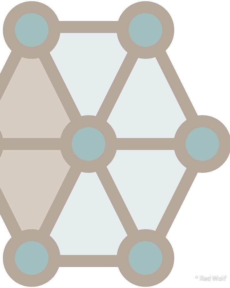 Geometric Pattern: Hexagon Circle / Red Wolf