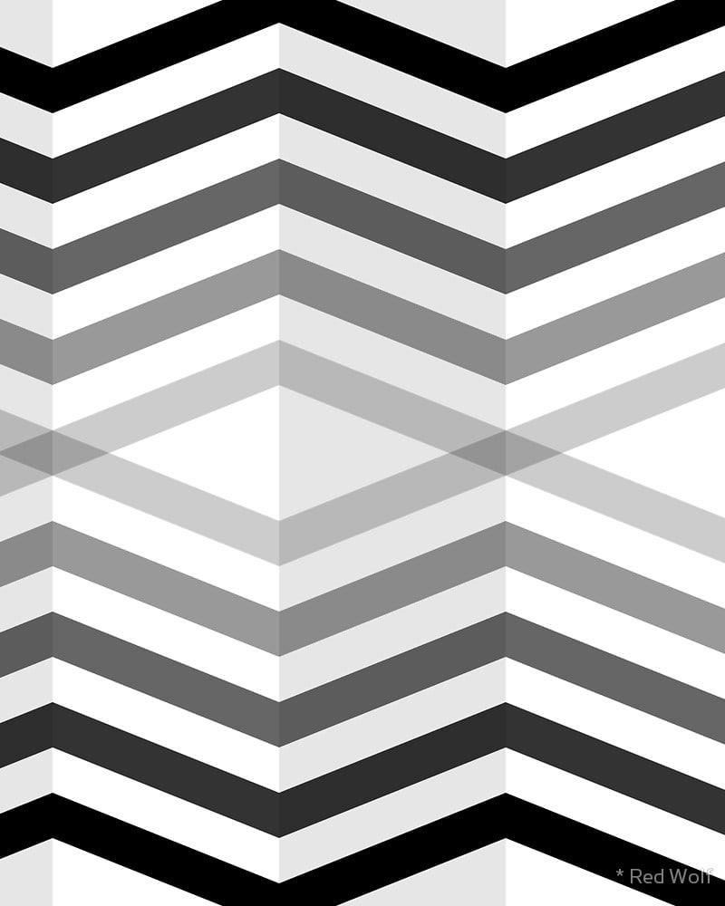 Geometric Pattern: Chevron Cascade: Rainbow + Monochrome / Red Wolf