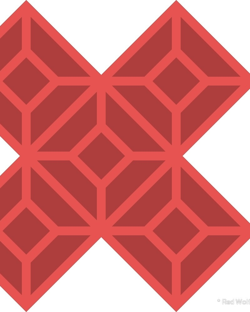 Geometric Pattern: Diamond Tile: Dark / Red Wolf