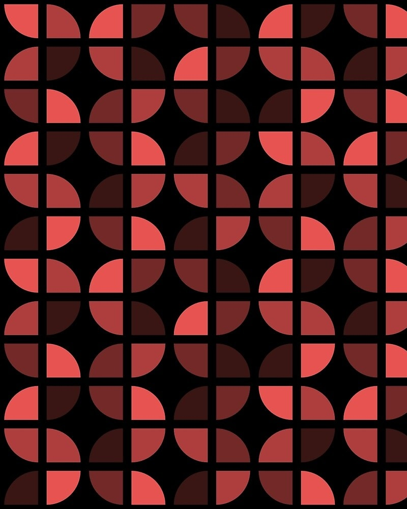 Geometric Pattern: Quarter Circle: Dark / Red Wolf