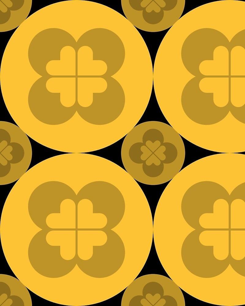 Geometric Pattern: Flower Circle: Dark / Red Wolf