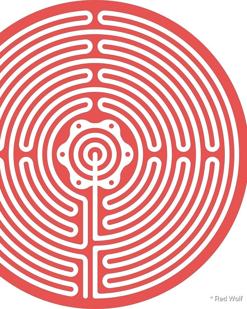 Geometric Pattern: Labyrinth: Light / Red Wolf