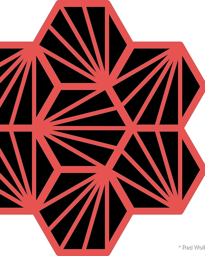 Geometric Pattern: Hexagon Ray: Black Background / Red Wolf
