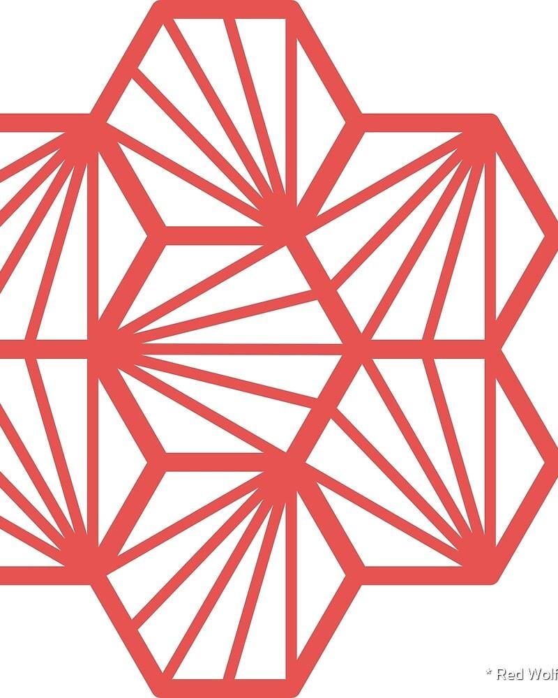 Geometric Pattern: Hexagon Ray: White Background / Red Wolf