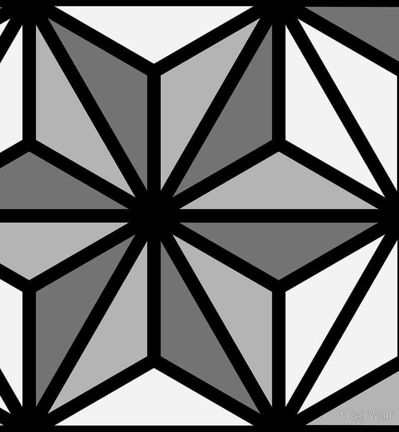 Geometric Pattern: Art Deco Star / Red Wolf