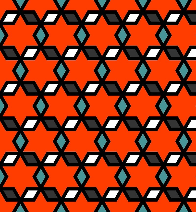 Geometric Pattern: Hexagon Star Diamond / Red Wolf