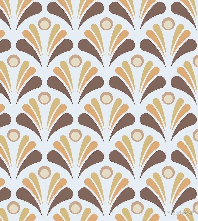 Geometric Pattern: Art Deco: Peacock / Red Wolf
