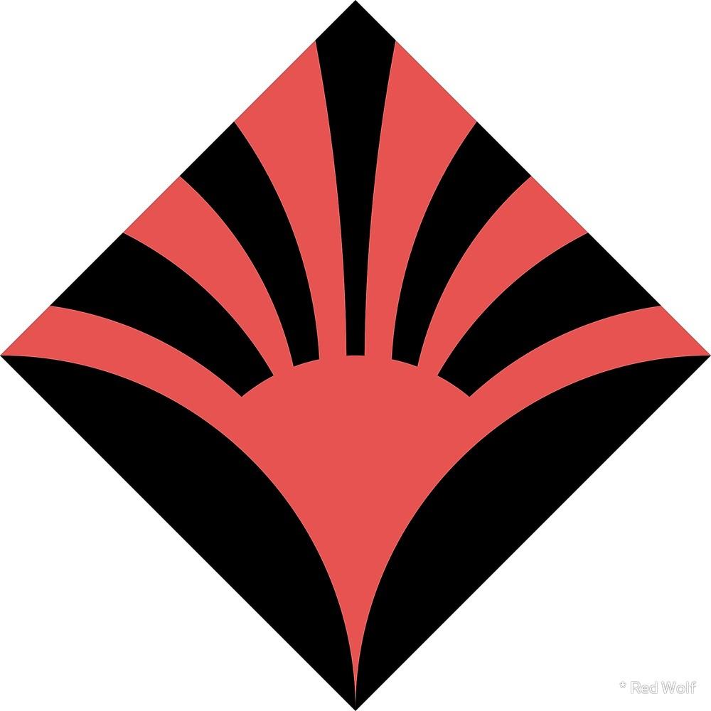 Geometric Pattern: Deco Sunset: Colour/Black / Red Wolf