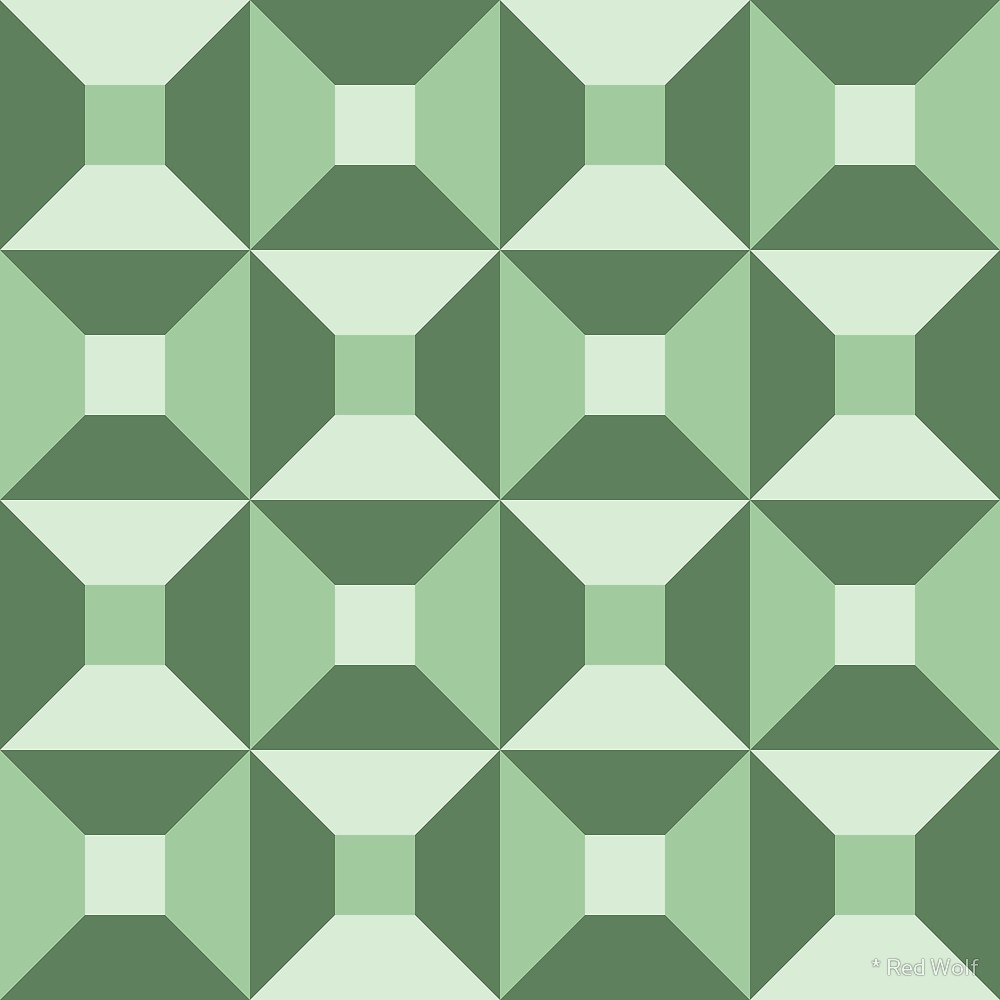Geometric Pattern: Square Check / Red Wolf