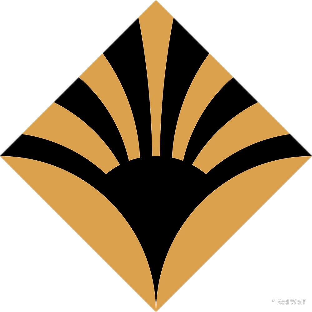 Geometric Pattern: Deco Sunset: Black/Cream/Gold / Red Wolf