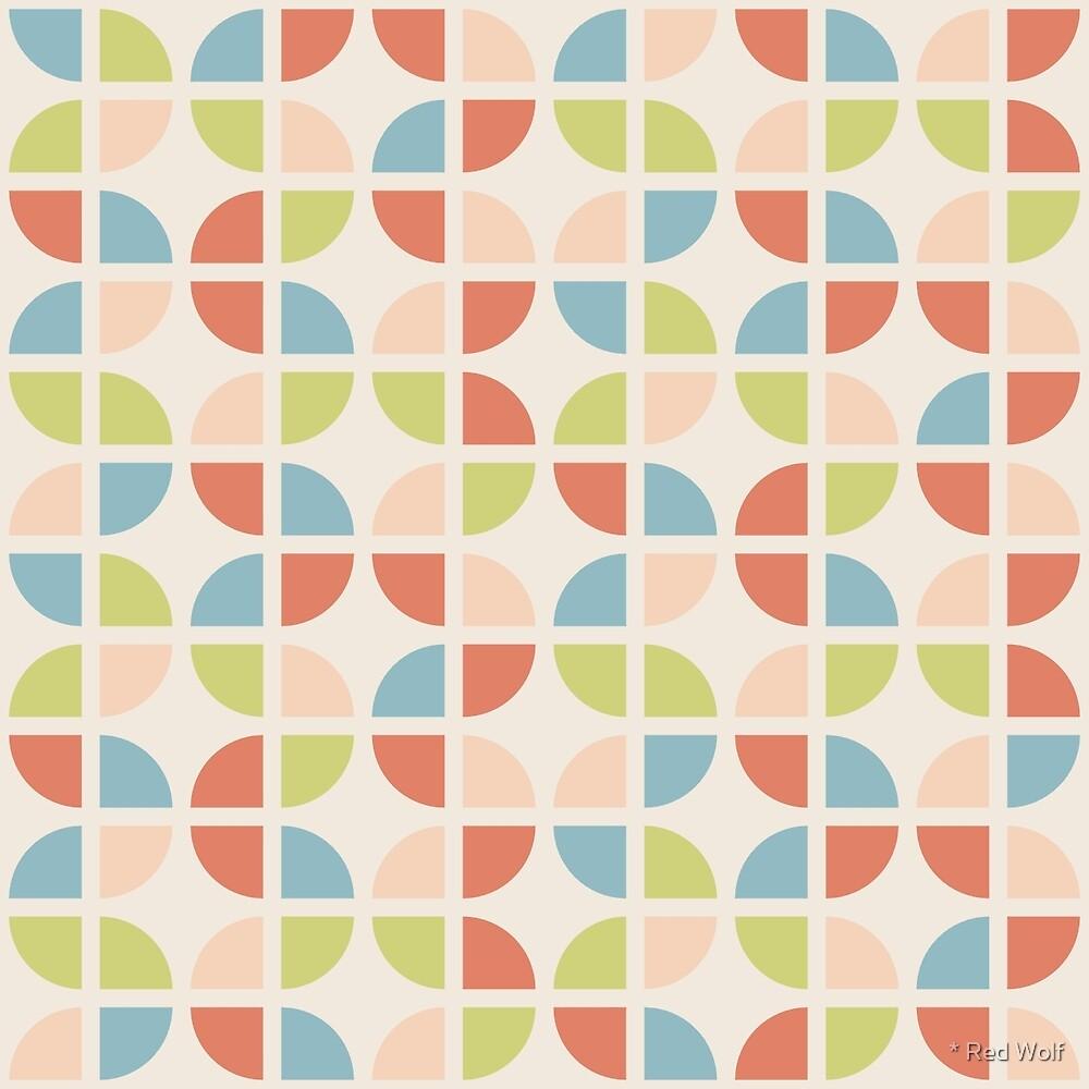Geometric Pattern: Quarter Circle: Seasons / Red Wolf
