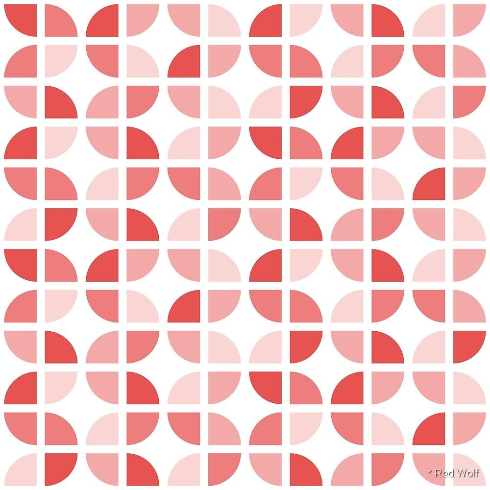 Geometric Pattern: Quarter Circle: Light / Red Wolf