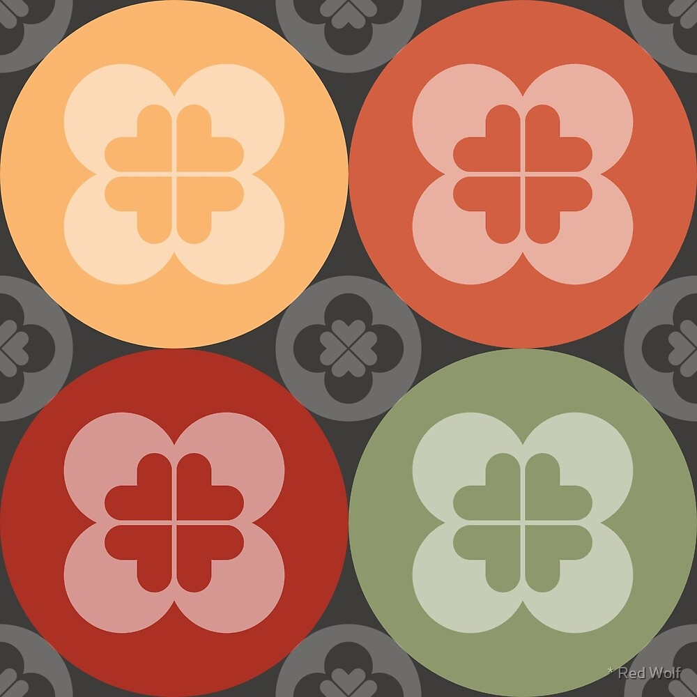 Geometric Pattern: Flower Circle: Garden / Red Wolf