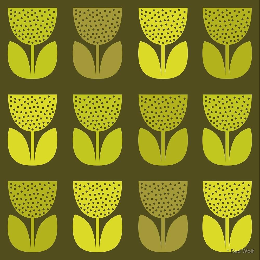 Geometric Pattern: Poppy: Dark / Red Wolf