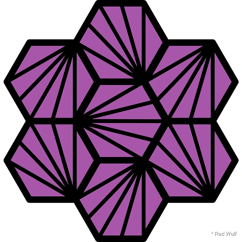 Geometric Pattern: Hexagon Ray: Black Outline / Red Wolf