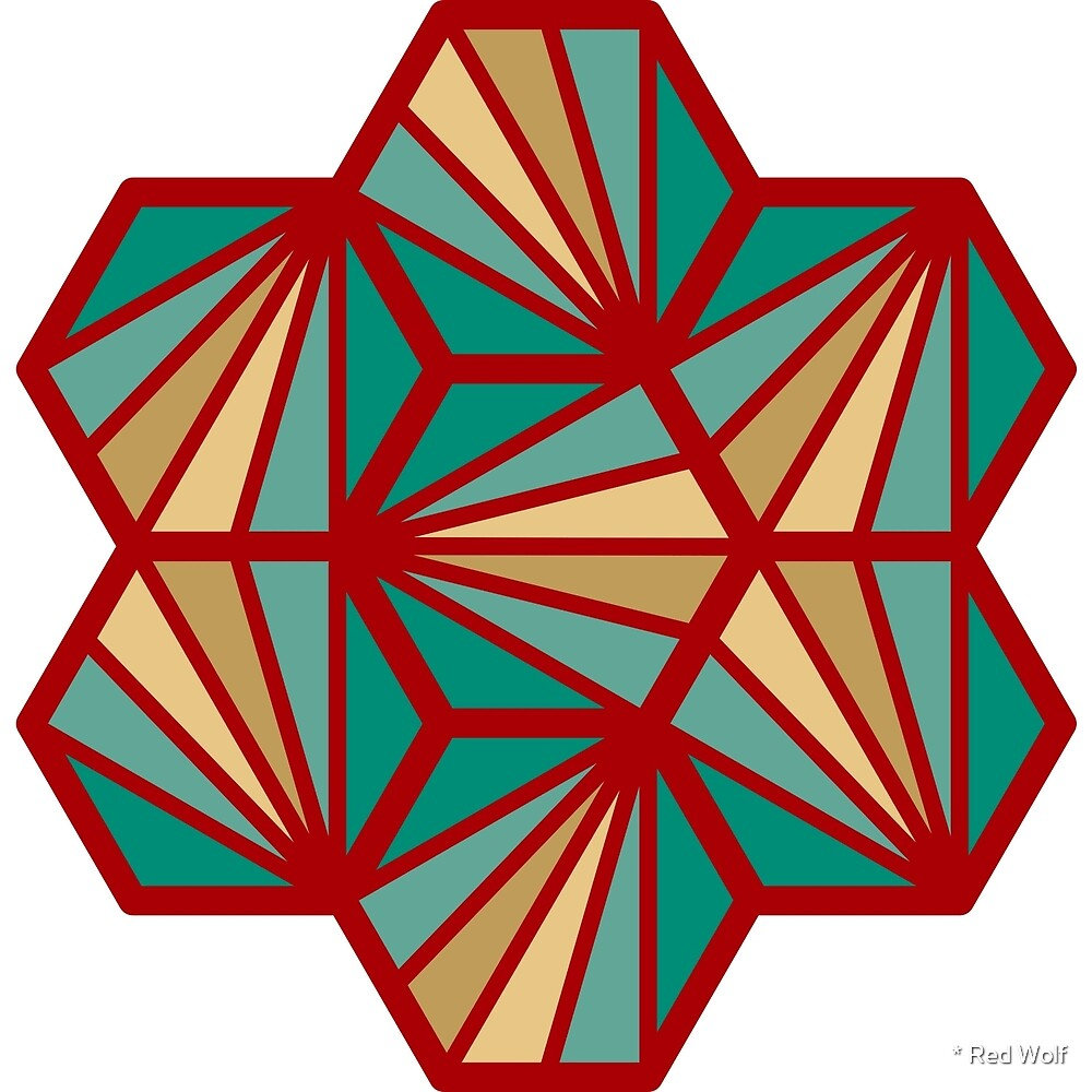 Geometric Pattern: Hexagon Ray: Deco / Red Wolf