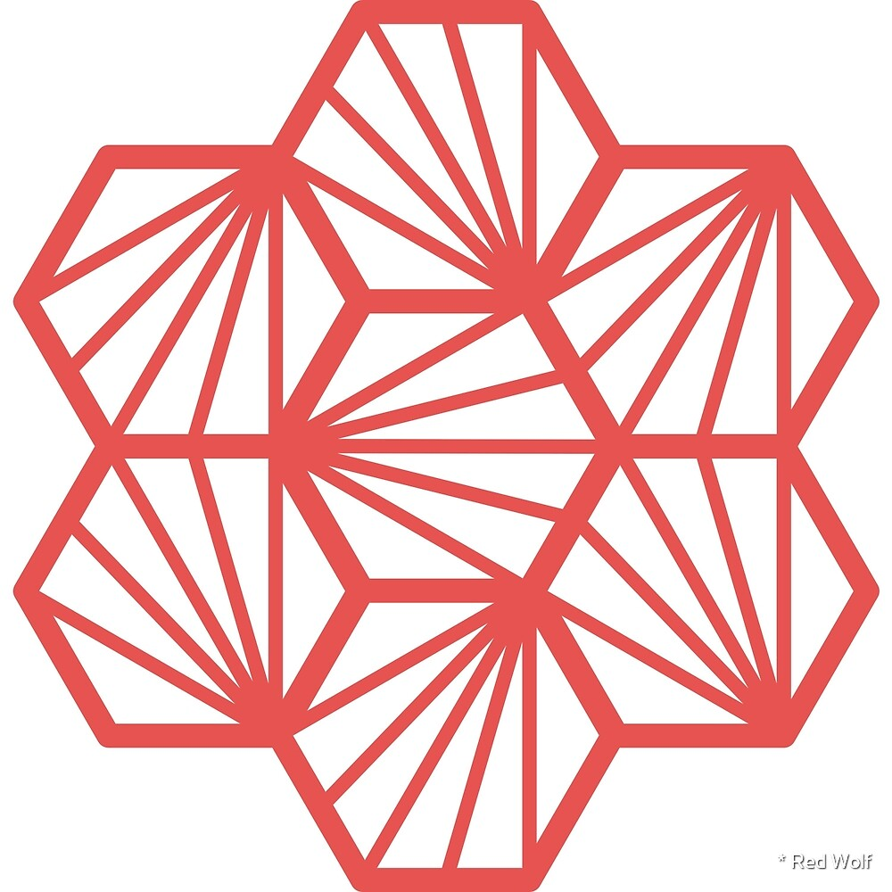 Geometric Pattern: Hexagon Ray: White Background / Red Wolf