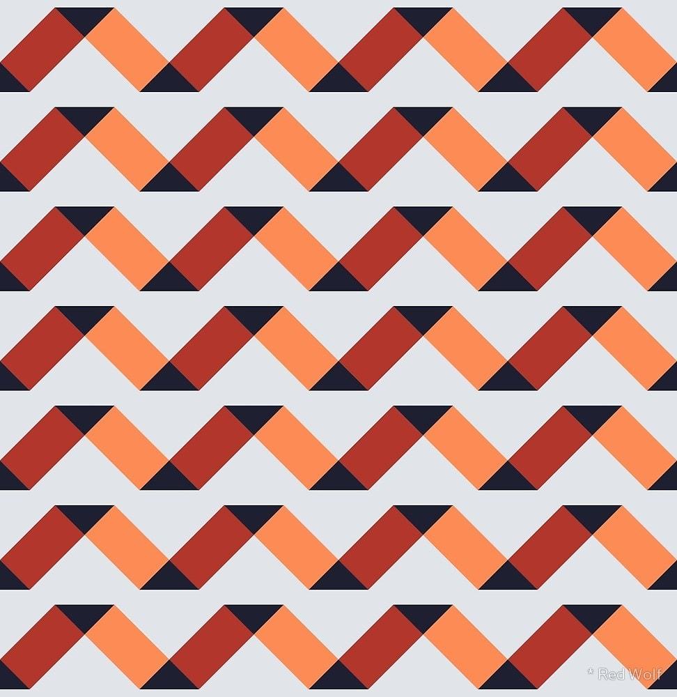 Geometric Pattern: Spiral / Red Wolf
