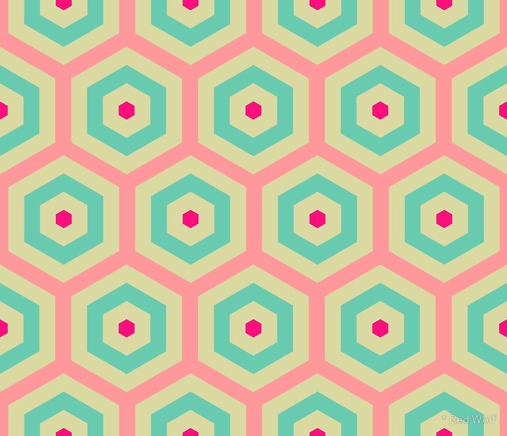 Geometric Pattern: Hexagon Hive / Red Wolf