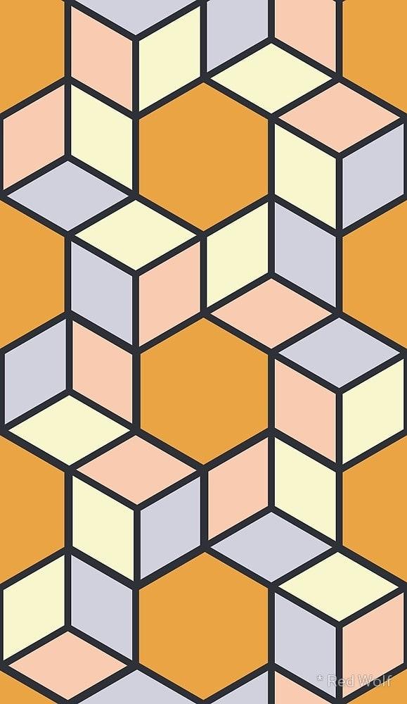 Geometric Pattern: Hexagon Box / Red Wolf