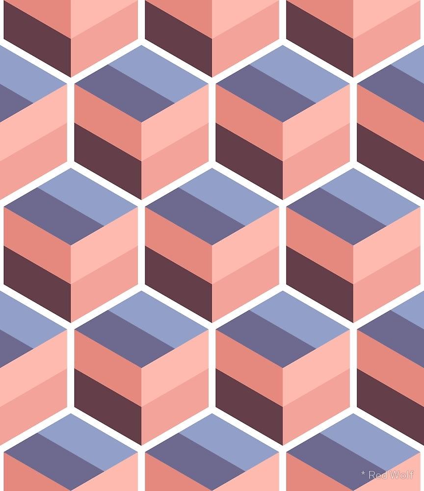 Geometric Pattern: Cube Stripe / Red Wolf