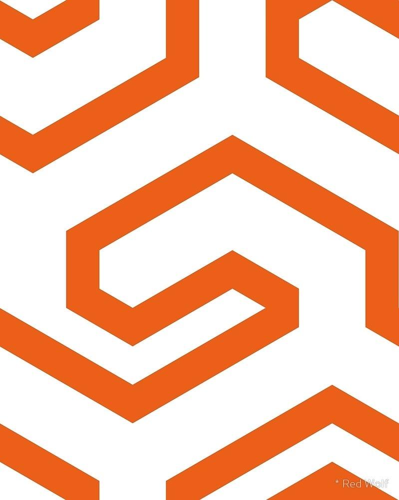 Geometric Pattern: Key Hook / Red Wolf
