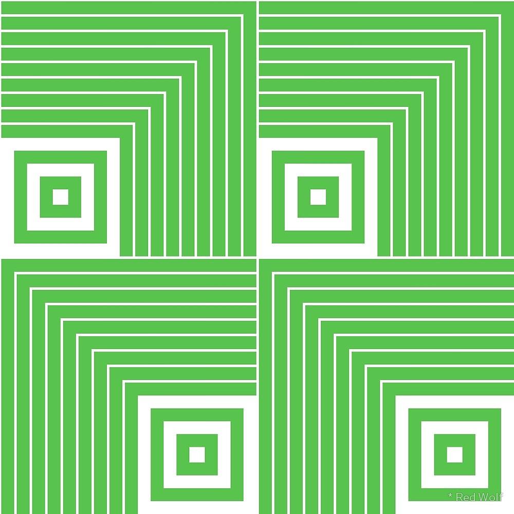 Geometric Pattern: Square Angle / Red Wolf