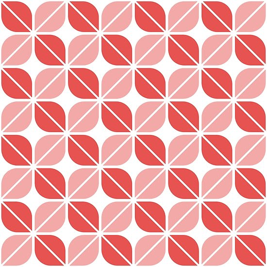 Geometric Pattern: Leaf: White / Red Wolf