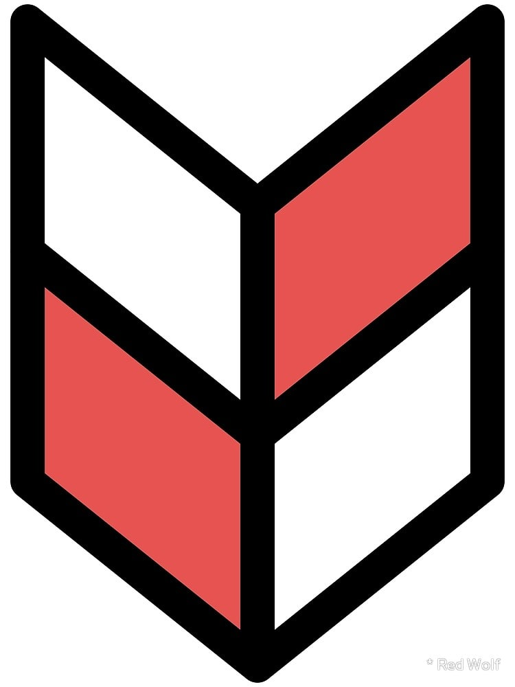Geometric Pattern: Chevron: White/Colour / Red Wolf