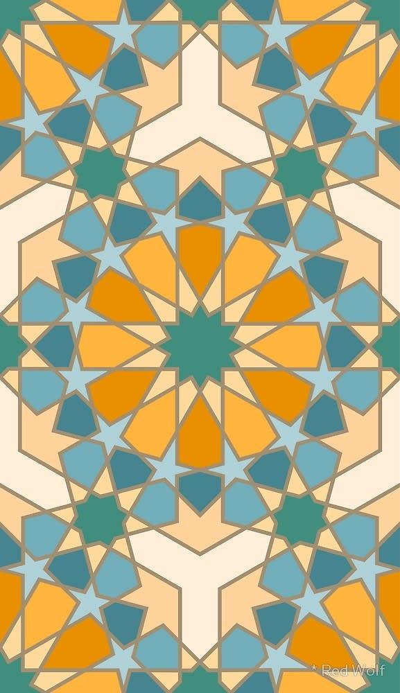 Geometric Pattern: Arabic Tiles: Flowers / Red Wolf