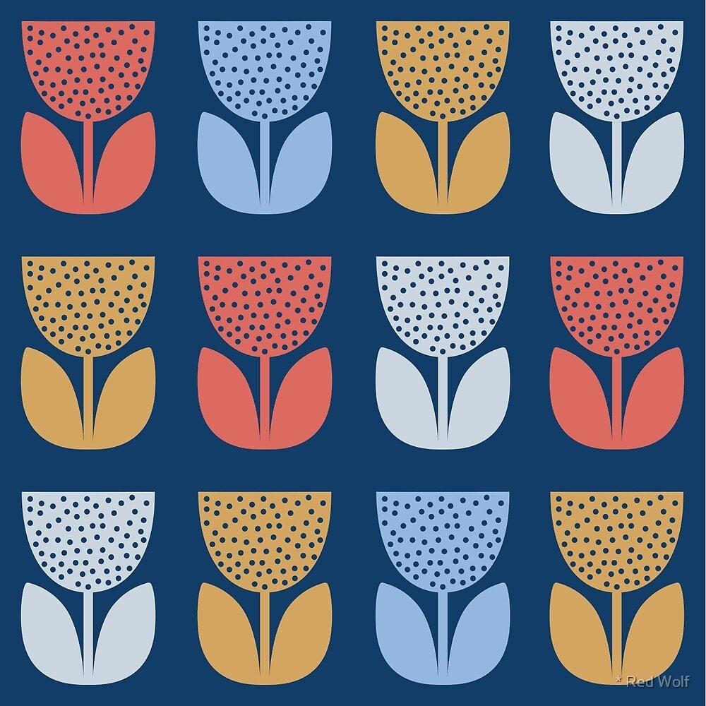 Geometric Pattern: Poppy: Seasons / Red Wolf