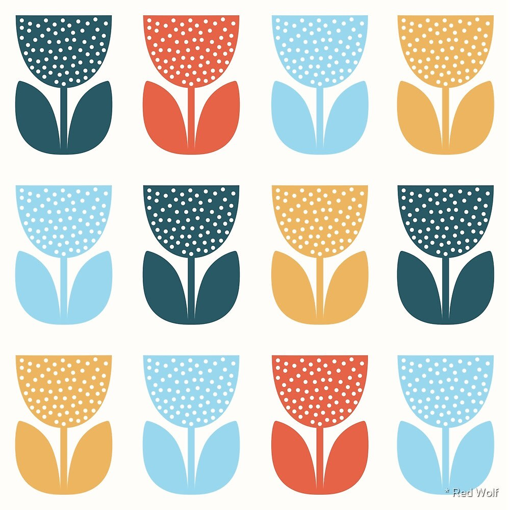 Geometric Pattern: Poppy: Flora / Red Wolf