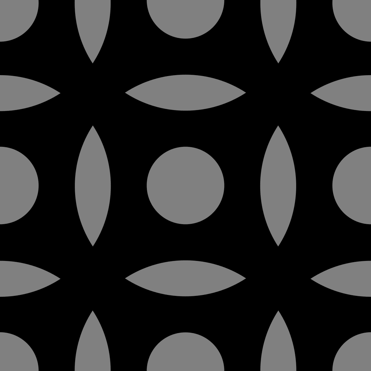 Geometric Pattern: Intersect Circle: Black Monochrome / Red Wolf