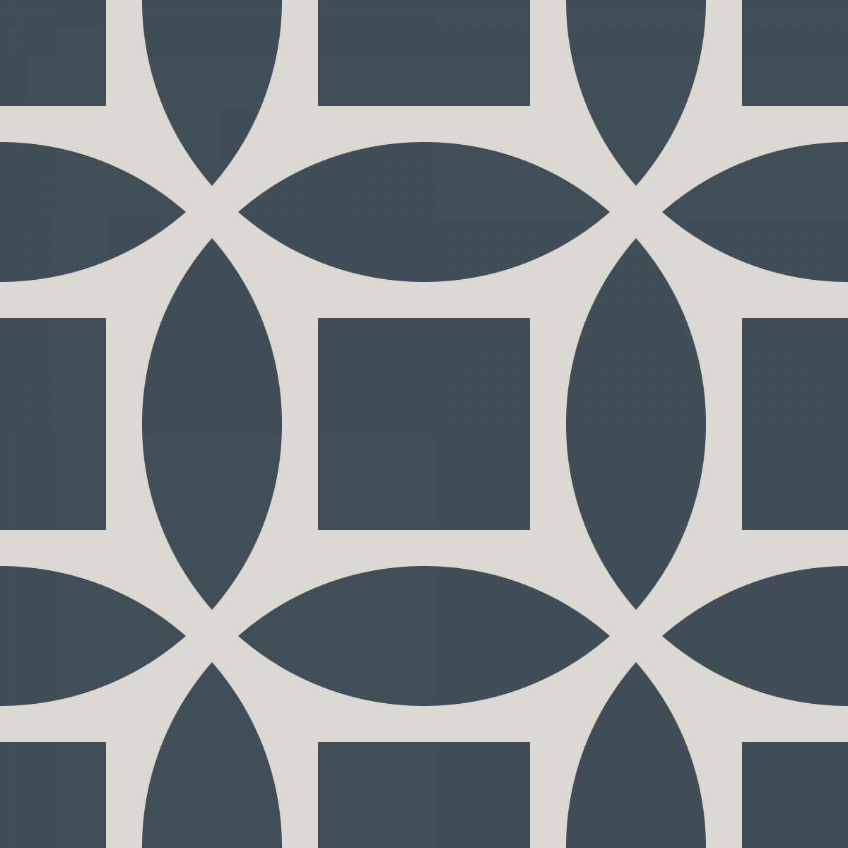 Geometric Pattern: Intersect Square: Stone / Red Wolf