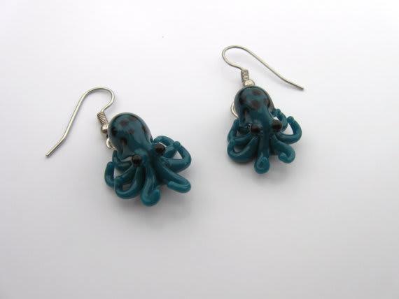 Tiny Blue Glass Octopus Earrings / Emergent Glassworks