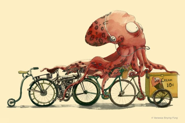 Octopus on Bike in Hurry / Vanessa Sinying Fung