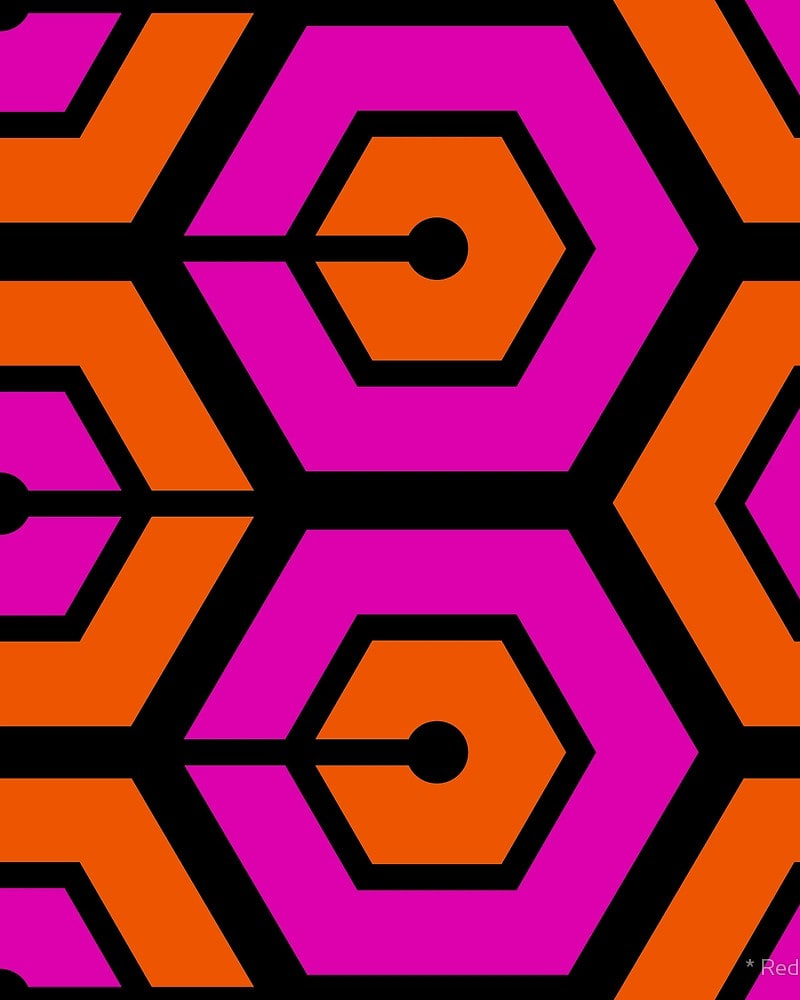 Geometric Pattern: Linked Hexagon / Red Wolf